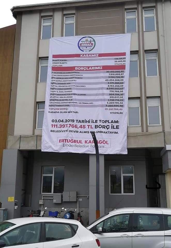 Devraldığı borç durumunu gösteren afişi belediye binasına astırdı
